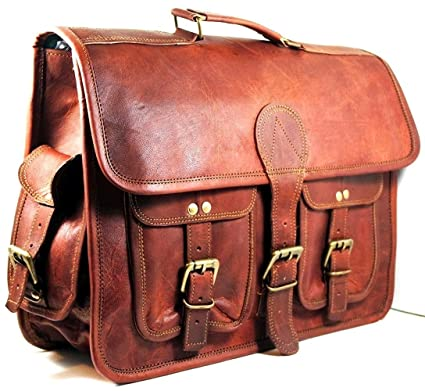 Image Unavailable. Image not available for. Color  Chuffed Brown Color  Handmade Leather 18 quot  Padded Messenger Bag Laptop ... a578d26085040