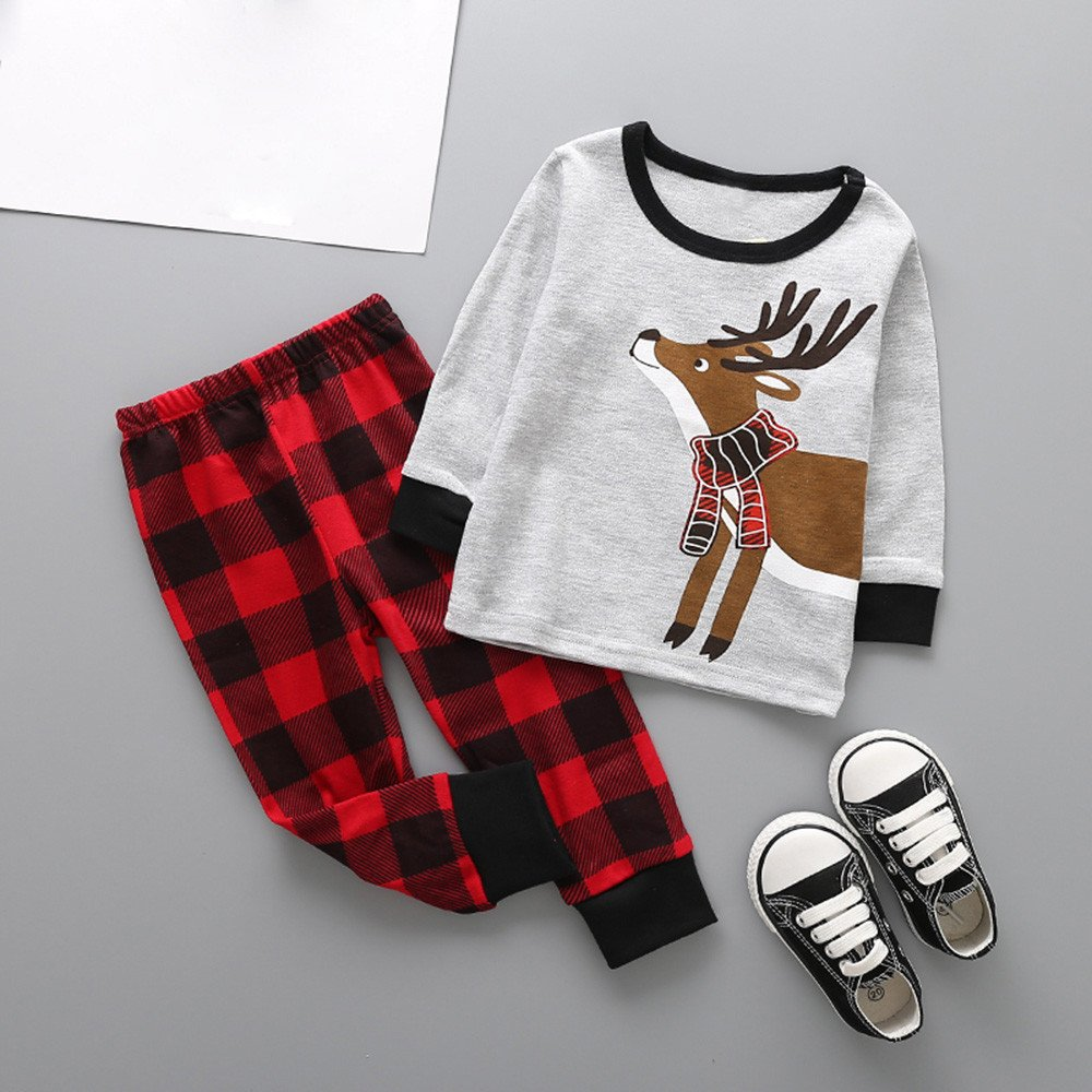 CieKen Newborn Infant Baby Boys Girls Outfits Christmas Deer Print Tops Pants Clothes Outfits