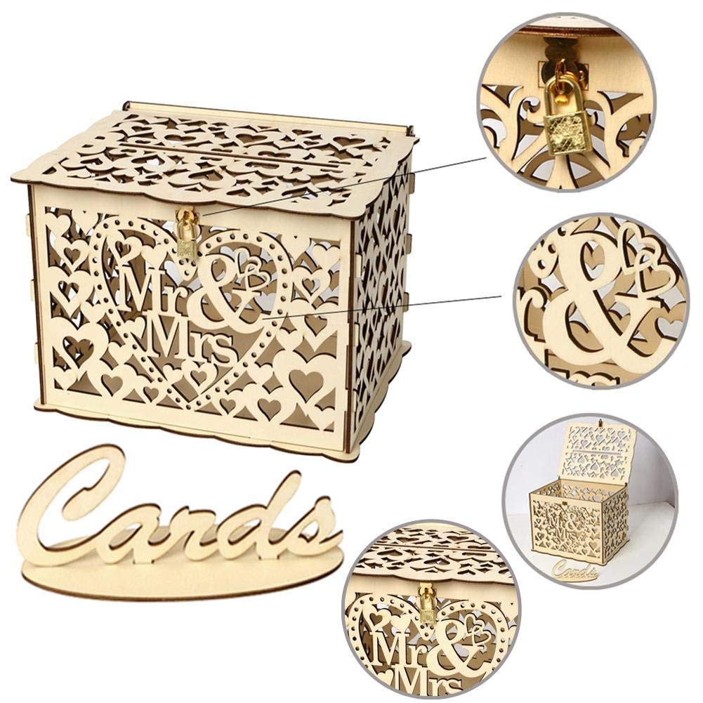 asterisknewly Rustic Hollow Wedding Card Box Wooden Wedding Card Post Box Collection Gift Card Boxes for Vintage Weddings Receptions Birthdays Graduations Baby Showers D/écor
