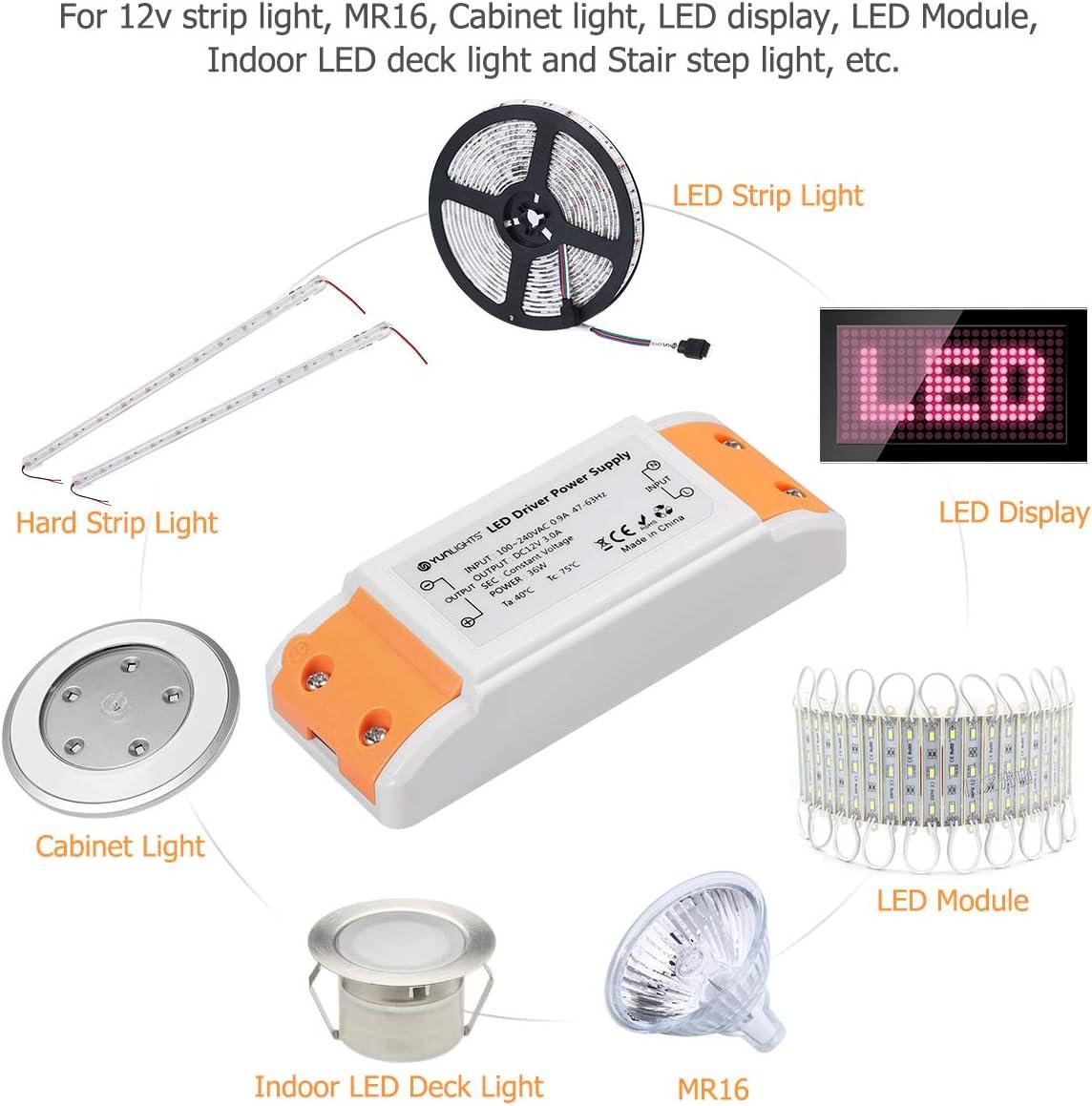 LED trafo 12V LED Transformator 0-12W LED Treibe Driver Netzteil Stabilisierte Spannungsquelle f/ür LED Lichtstreifen MR16 LED Display G4 Schrank Licht LED-Anzeige MR11 Deck Licht