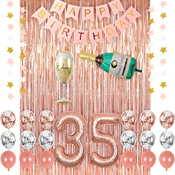 Rose Gold 35 Birthday Party Decorations Supplies Champagne Balloon Pink Happy Banner