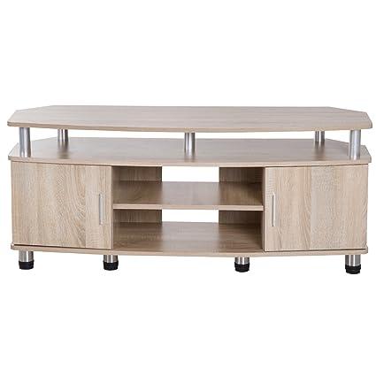 HomCom® Mesa Soporte de TV Mueble de Comedor Salón Moderno Armario 2 Puertas 2 Estantes 120x39.5x52cm Madera Color Roble