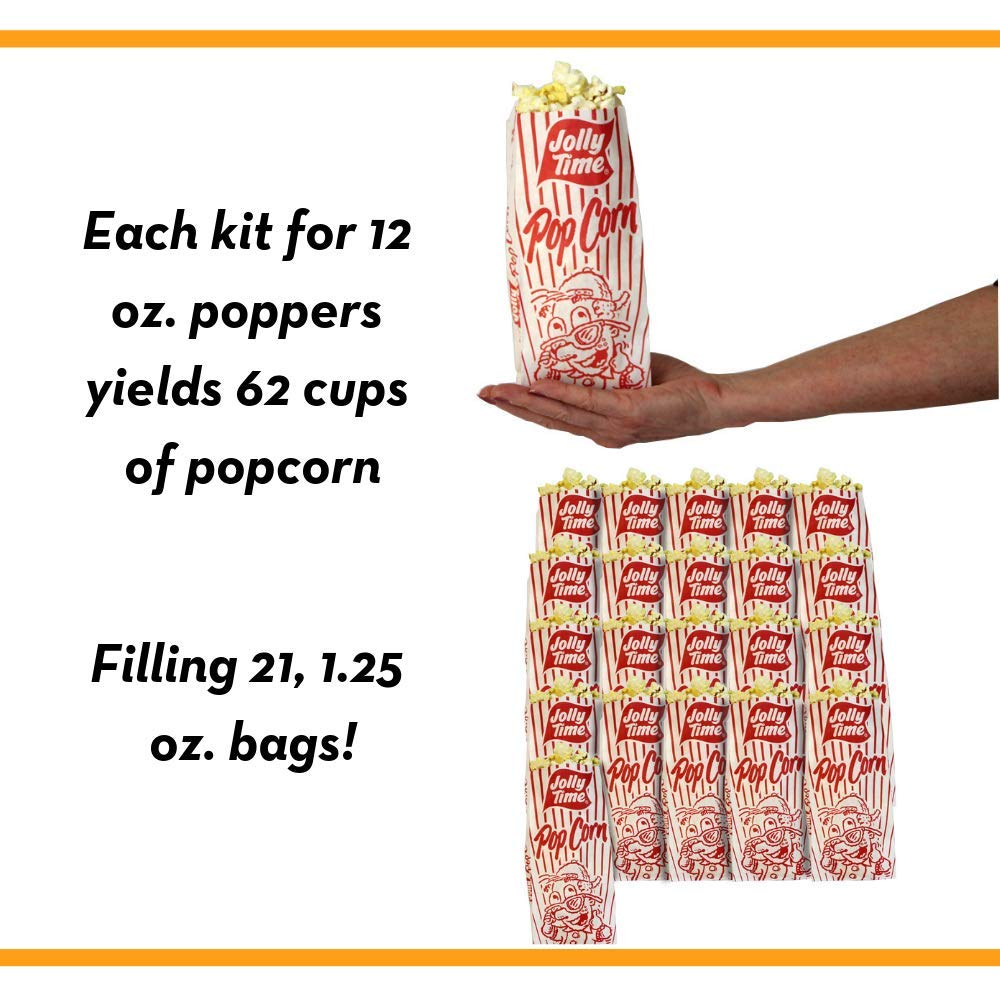 JOLLY TIME All in One Kit for 12 oz. Popcorn Machine | Portion Packet with Kernels, Oil and Salt Commercial, Movie Theater or Air Popper (Net Wt. 16 oz. Each, Pack of 24) by Jolly Time (Image #6)
