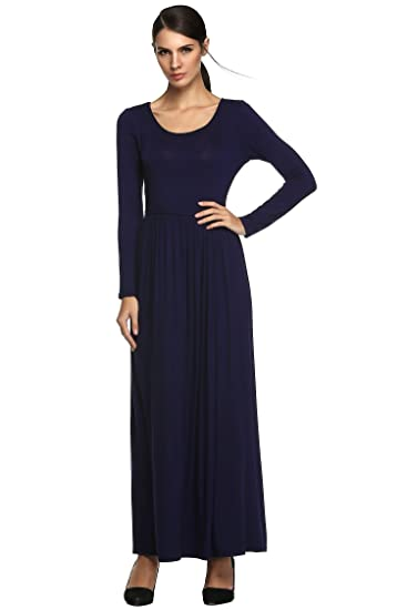Womens Long Sleeve Dress Waist Pleated Party Causual Fashional Figure Flattering Maxi Dress (L,
