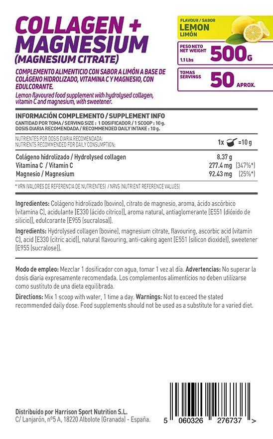 HSN Essentials - Colágeno Hidrolizado + Magnesio 2.0 - Sabor Limón - En Polvo 500 g: Amazon.es: Alimentación y bebidas