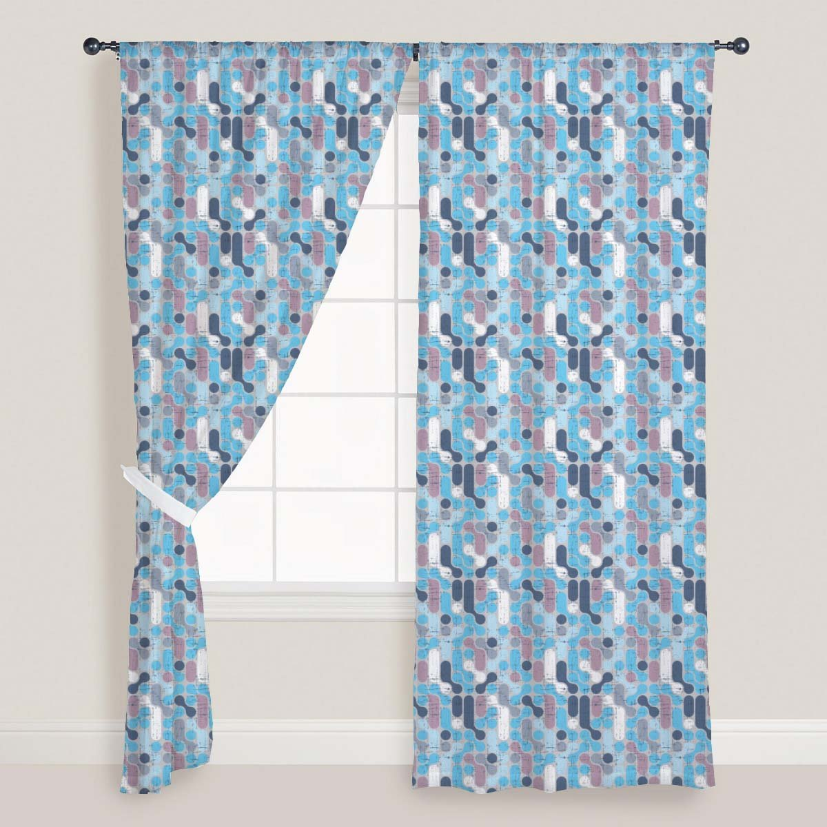 AZ Retro Style Door & Window Curtain Satin 4feet x 9feet; SET OF 3 PCS