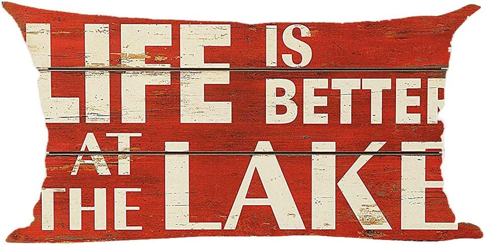 ramirar Word Art Quote Life is Better at The Lake Retro Red Wood Background Decorative Lumbar Throw Pillow Cover Case Cushion Home Living Room Bed Sofa Car Cotton Linen Rectangular 12 x 20 Inches