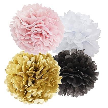 Amazon 40pcs Tissue Paper Pom Pom White Pink Gold Black Paper Impressive Tissue Paper Flower Ball Decorations