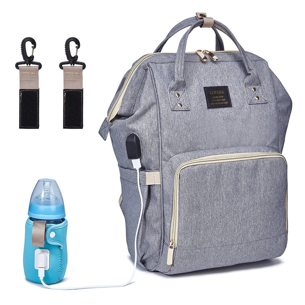 Amazon Com Diaper Bag Backpack Multifunction Travel Back Pack Large Capacity Maternity Nappy Bag Waterproof Maternity Baby Bag With Bottle Warmer Stroller Straps And Built In Usb Charging Port Gray Baby