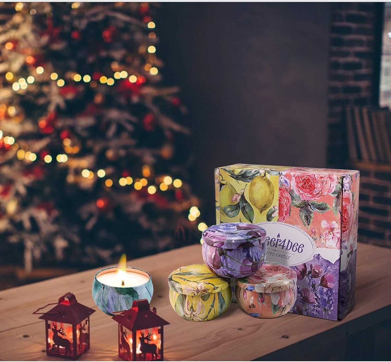 Geburtstag Cheer4bee Geschenke f/ür Frauen Duftkerze Feige Zitrone 100/% Nat/ürliches Sojawachs Mediterrane Jahrestag Lavendel Duftkerzen Set Weihnachten Adventskalender 2020 Kerzen