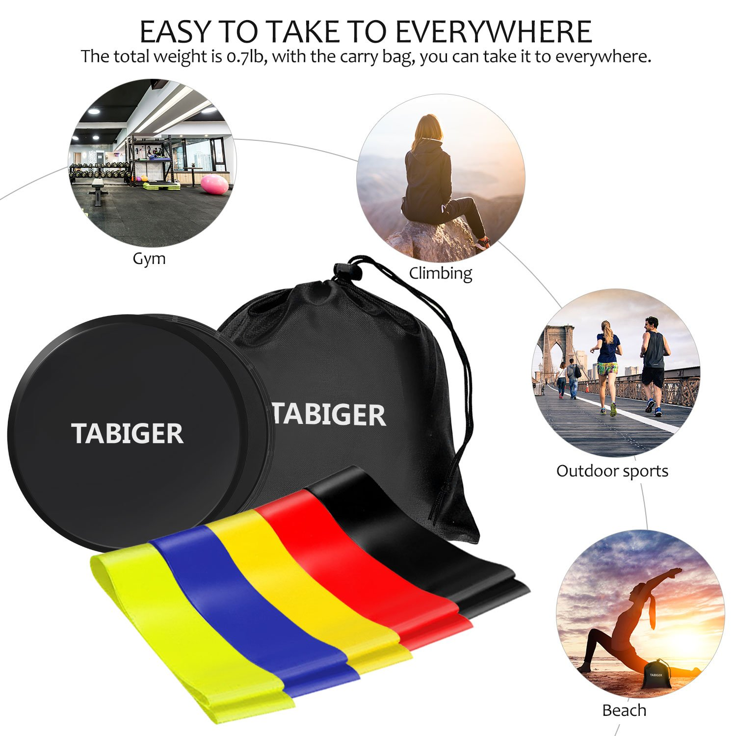 Tabiger Resistance Bands for Legs and Butt, Core Sliders and Resistance Bands Set, 5 Fitness Bands and 2 Gliding Discs with Carry Bag for Sport, Abdominal Exercise, Strengthen, Physical Therapy by Tabiger (Image #5)