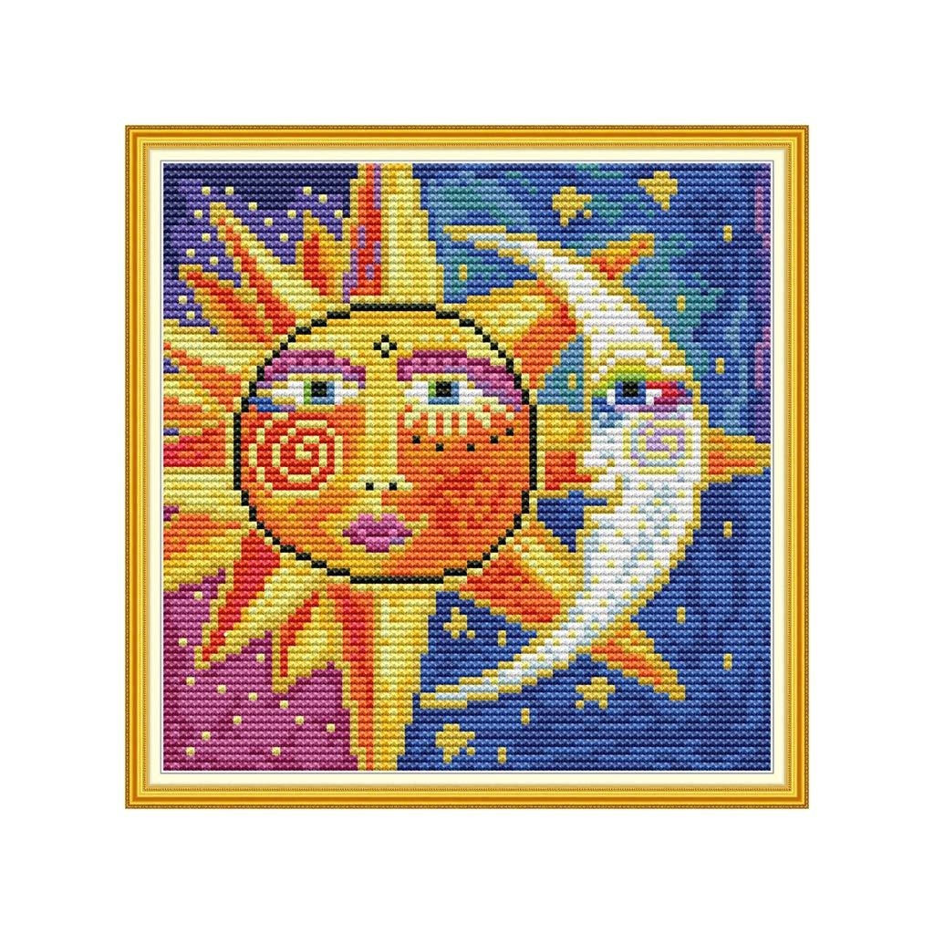 Haptian Sun Moon Fai-da-Te Fatto a Mano Conteggio 14CT Stampato Ricamo a Punto Croce Forniture per Artigianato dArte Kit a Punto Croce