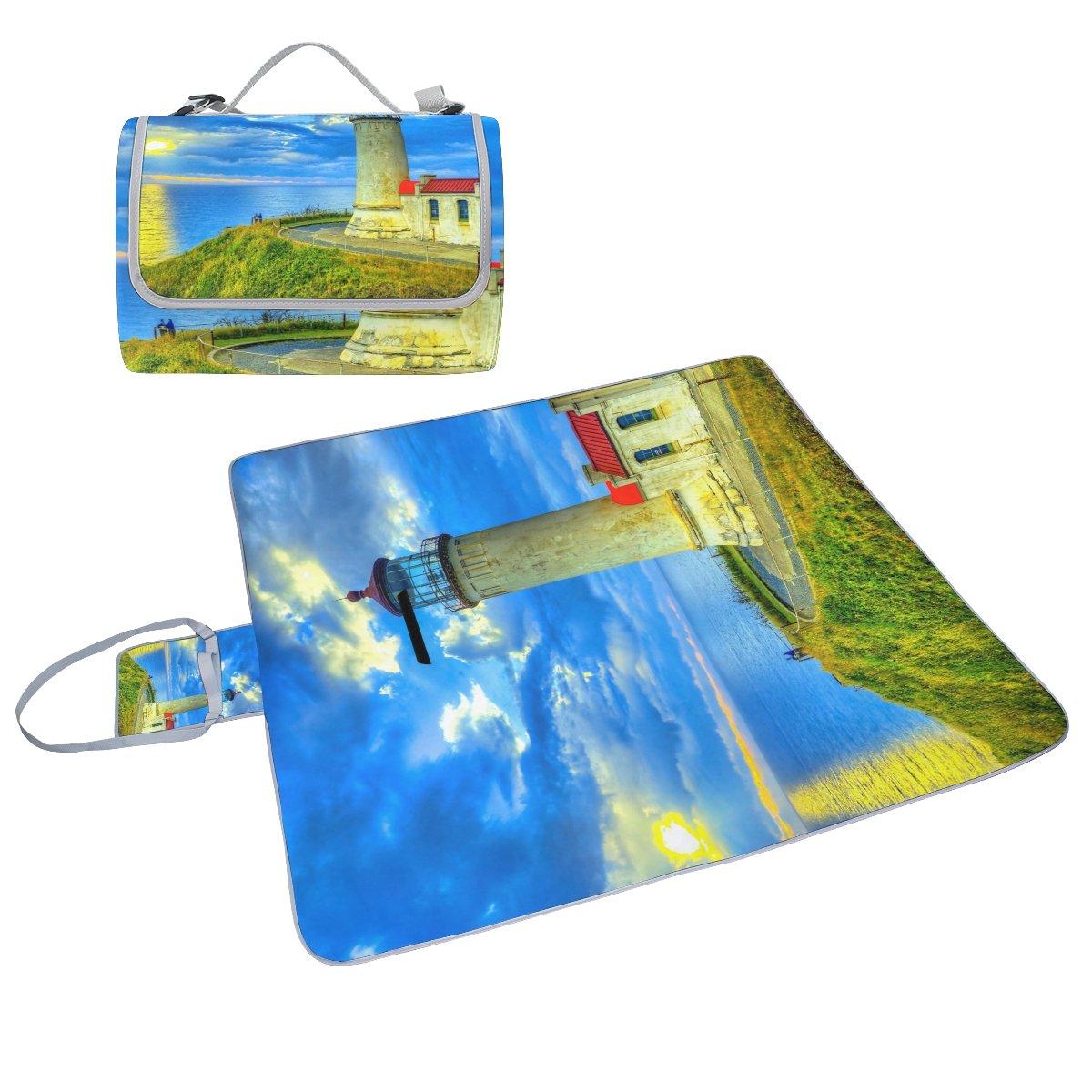 COOSUN Seashore Lighthouse - Manta para picnic (resistente al moho, impermeable, para picnics, playas, senderismo, viajes, viajes y excursiones)