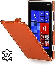 StilGut Ultraslim, housse exclusive de cuir véritable pour le Nokia Lumia 920, orange