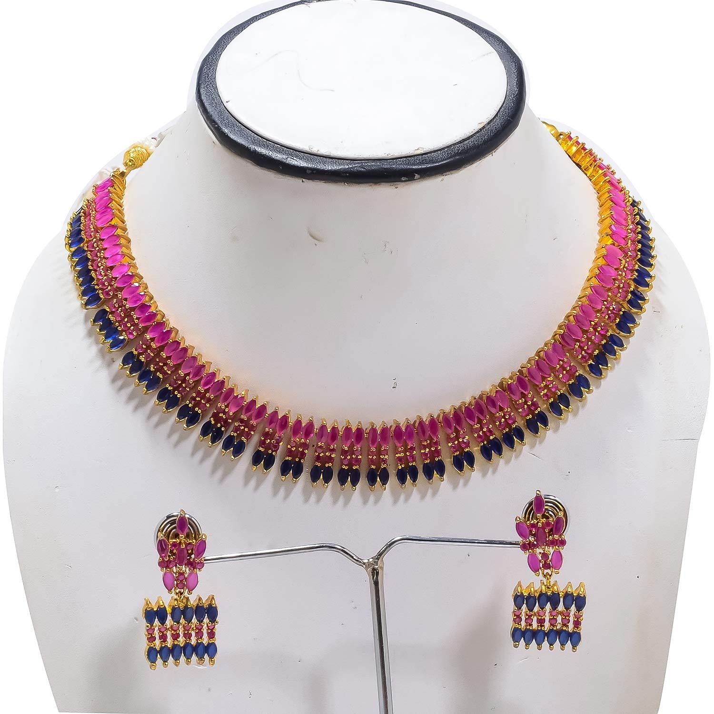 Jewar Mandi Necklace Set Ruby Sapphire Multi Gemstones Designer