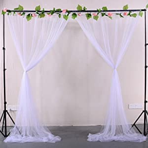 White Sheer Backdrop Curtains Tulle Backdrop Drapes for Parties Wedding Ceremony Birthday Party Christmas Background Home Decorations 2 Panels 5 ft X 8 ft
