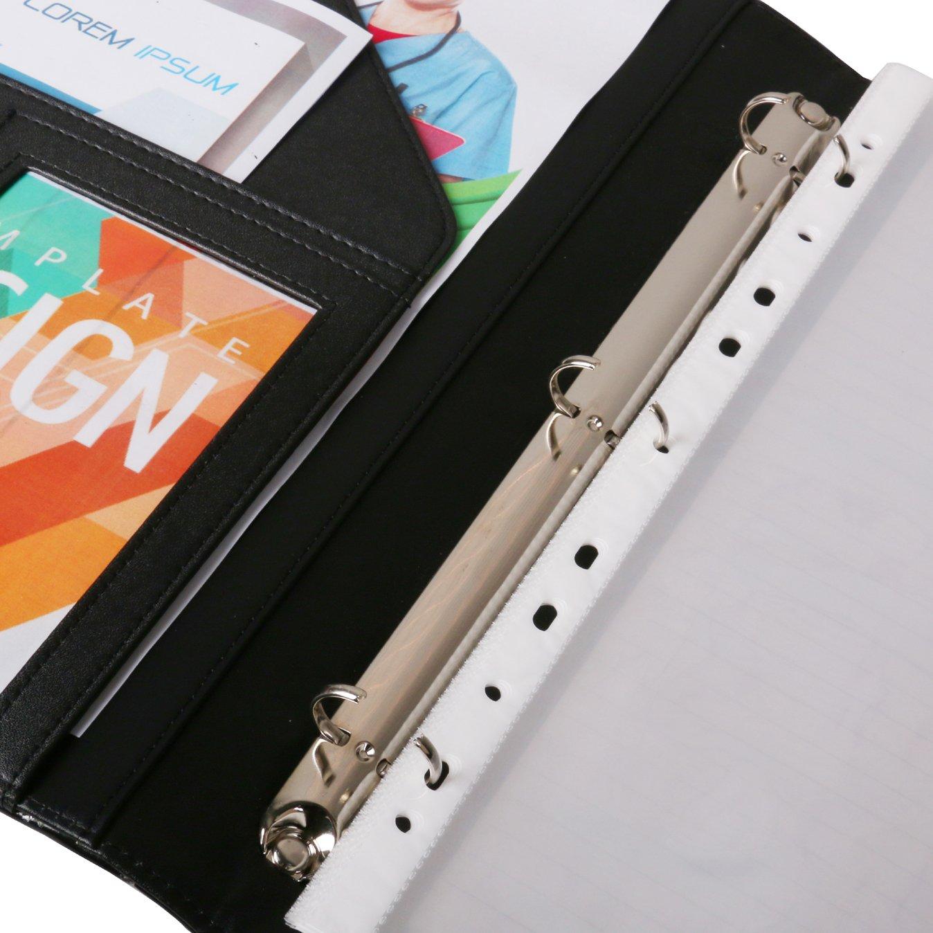 Z PLINRISE Luxury Marble Portfolio File Folder Document Resume Organizer,Padfolio File Holder Folders Letter Size,Standard 3 Ring Binder with Clipboard (Marble Black) by Z PLINRISE (Image #5)