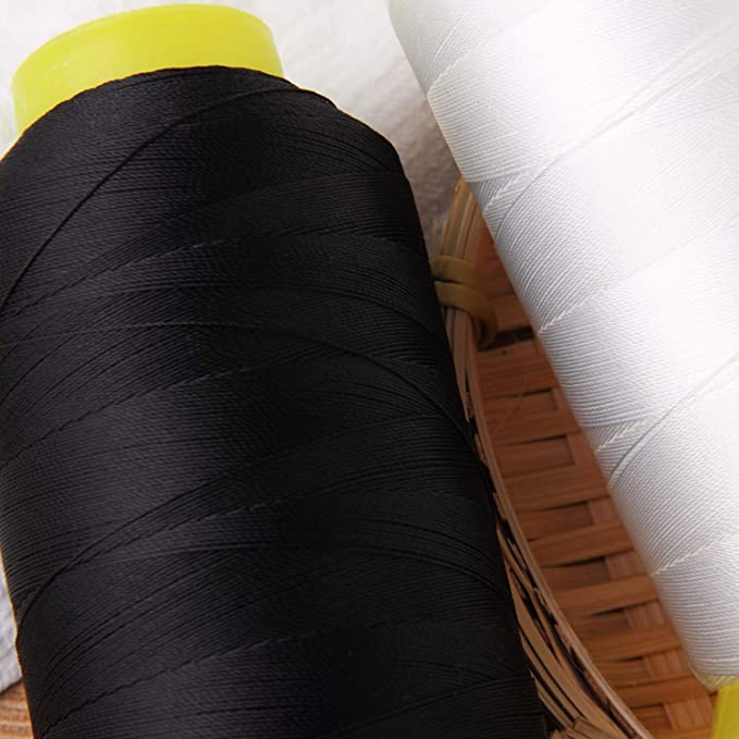 2PCS T70#69 Bonded Nylon Sewing Thread White+Black 1500 Yard Spool -