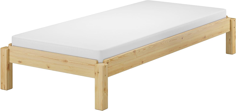 Erst-Holz® 60.48-08-190M - Cama de madera maciza apilable de pino natural, 80 x 190 cm, cama individual apilable + colchón