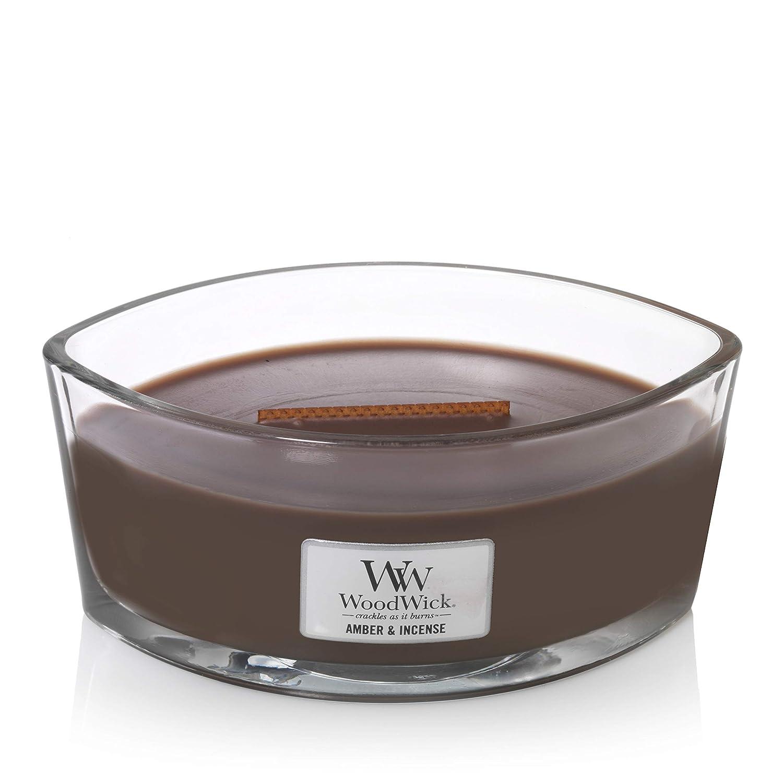 Ambre et encens Ellipse Woodwick Bougie parfum/ée avec Flamme Hearthwick Paraffine