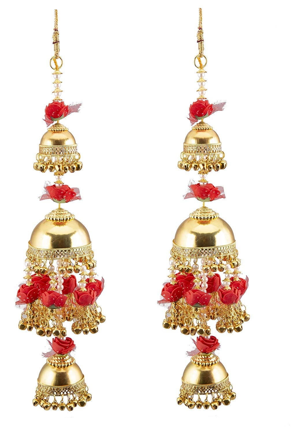 Punjabi Kalire Red Flowers and Gold Plated for Women