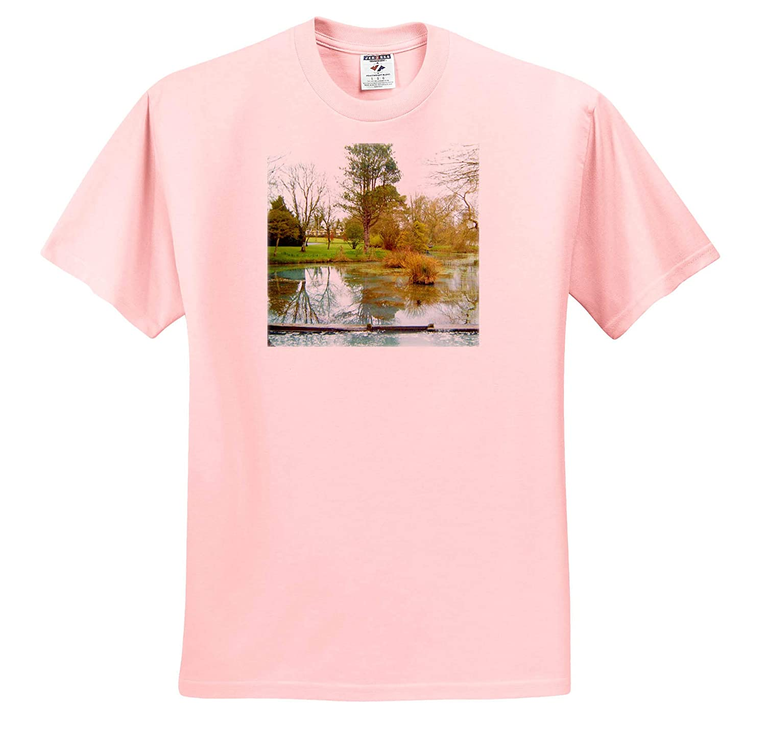 3dRose Jos Fauxtographee T-Shirts an Ireland Wet Land Swamp with Trees and Golden Colors with Green Ireland Wet Land