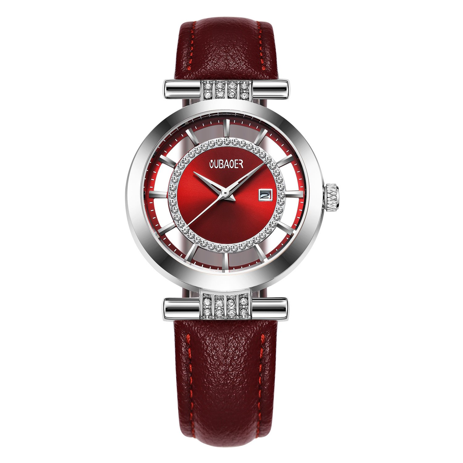 Womens Quartz Watch OUBAOER Crystal Accented Leather Band Watch for Women Transparent Watch with Date Lady Wristwatches for Business(Silver Red)