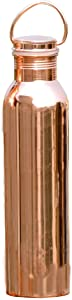 HealthGoodsIn - Pure Copper (99.74%) Water Bottle with Carrying Handle   Seamless Leakproof Ayurvedic Water Bottle 600 Ml (20.28 Fluid Ounce)