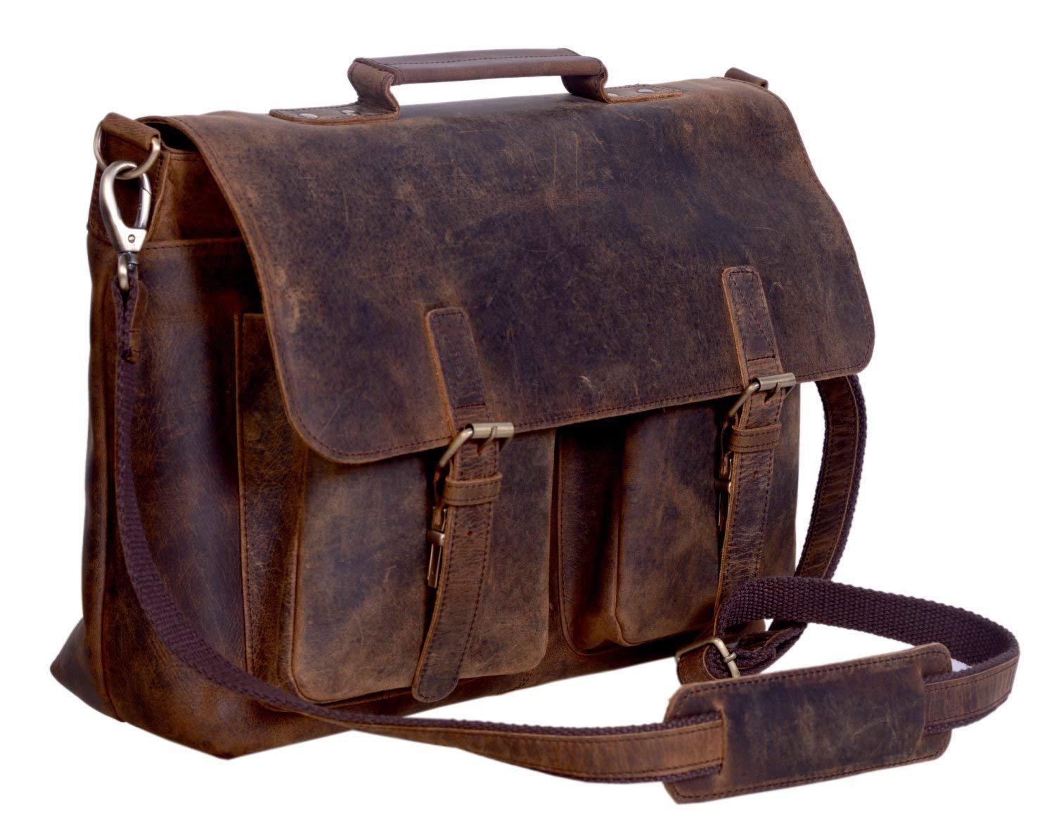 Aktentasche fürs Büro im Retro-Look von KomalC, 38,1cm, Büffelleder, Laptoptasche, Kuriertasche, College-Tasche 1cm Büffelleder 4328541651