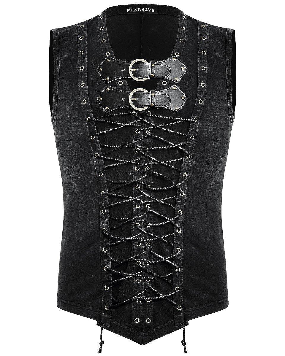 Punk Rave Mens Dieselpunk Tank Top Vest Black Goth Punk Sleeveless T Shirt