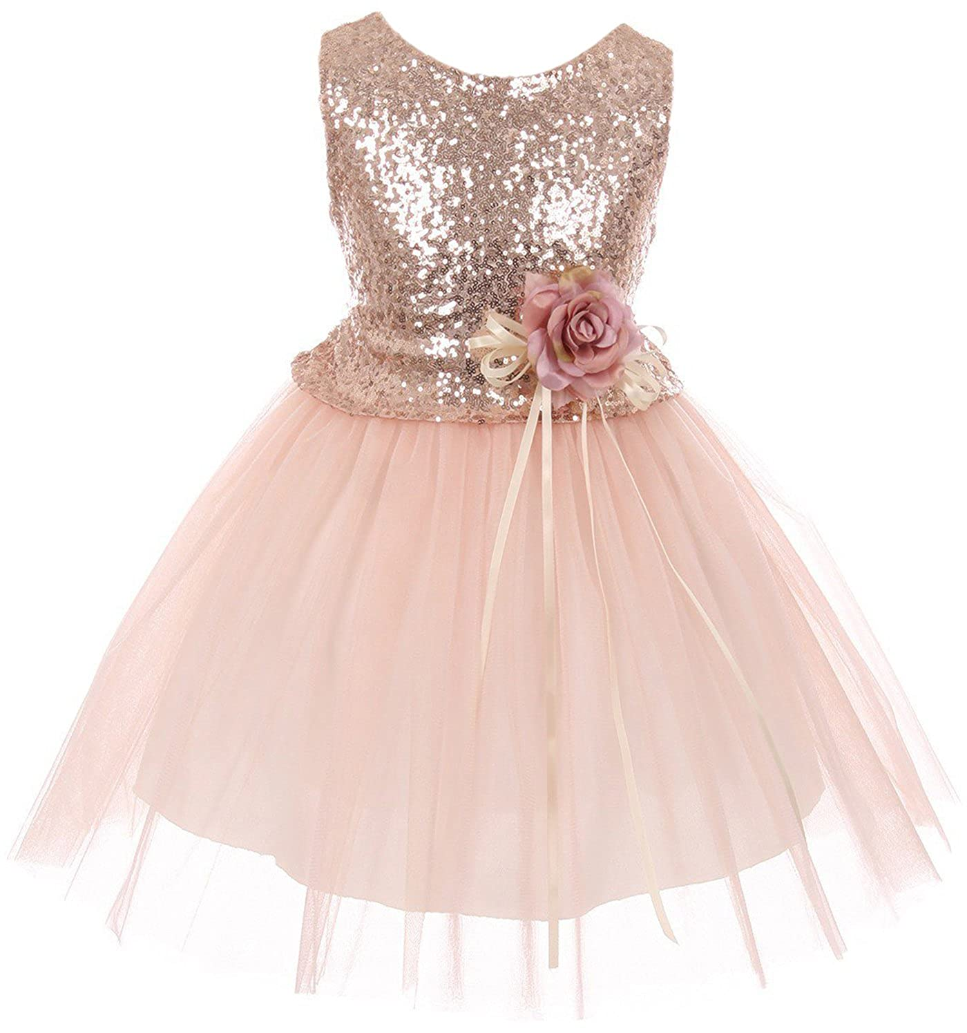 b405981a07a Sleeveless Sequin Glitter Flower Girl dress. Flower ornament attached to  the waist releasing an overlaid stunning skirt. Key-hole at back and tie  sash.