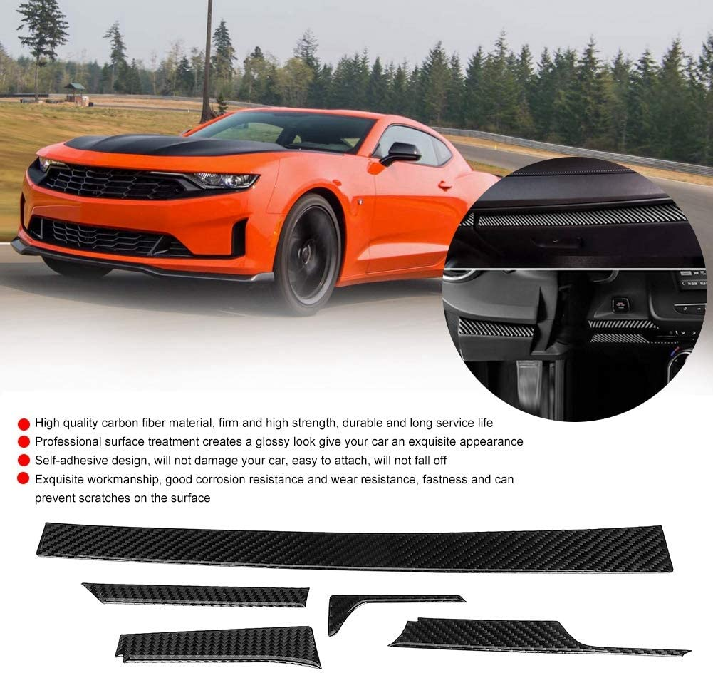 Carbon Fiber Style Car Door Handle Cover Trim 5PCS Carbon Fiber Center Console Trim Panel Left Hand Drive for Chevrolet Camaro 2017-2019