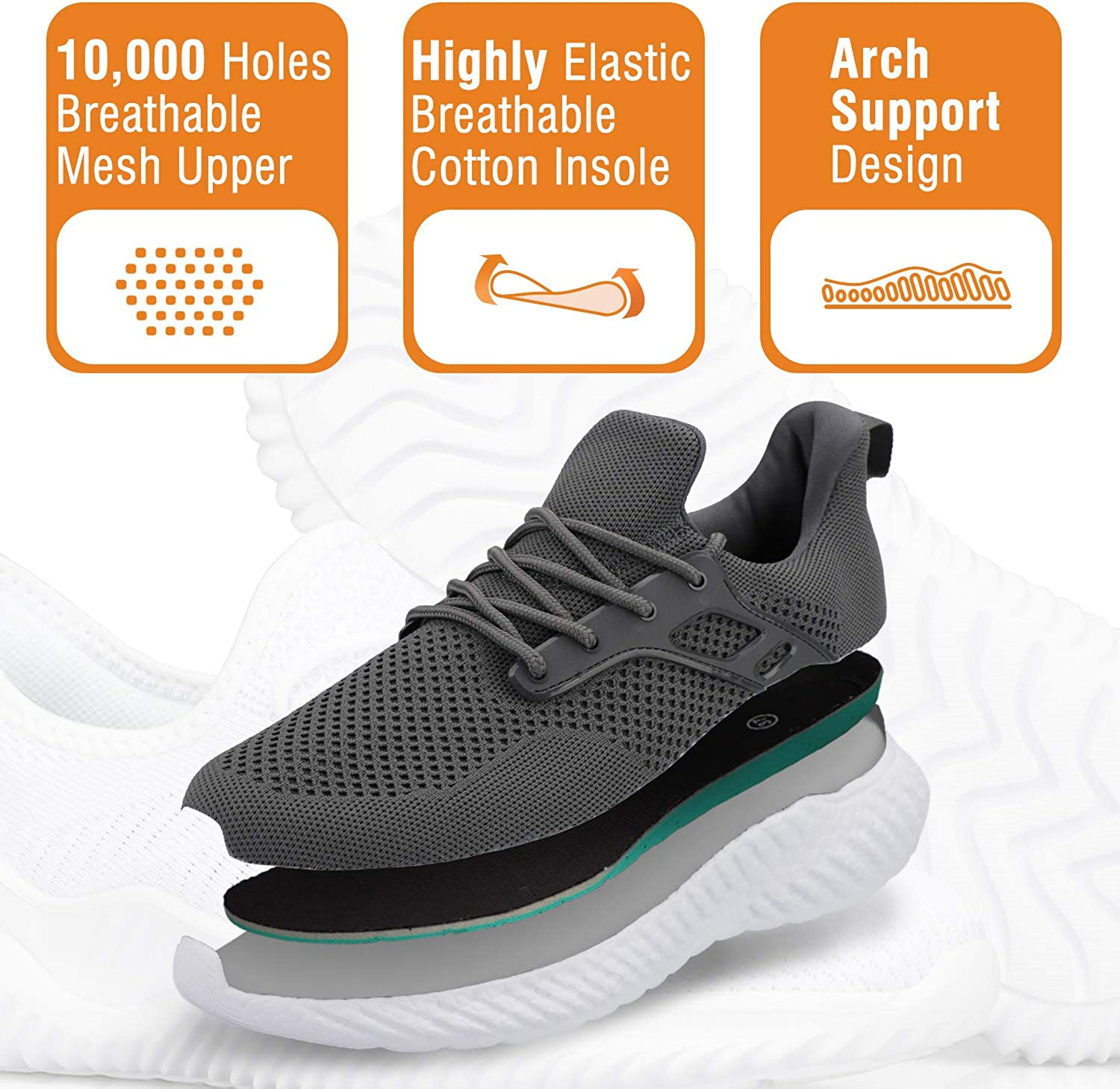 Mens Running Shoes Fashion Lightweight Breathable Sneakers Slip-On Casual Walking Shoes
