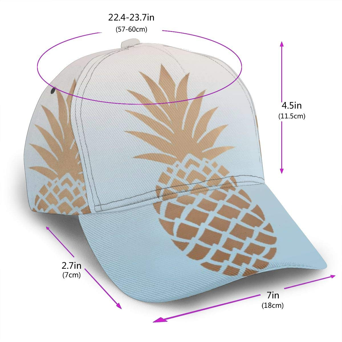 Rose Gold Pineapple in Gradient Background Womens Adult Cap Adjustable Cowboys Hats