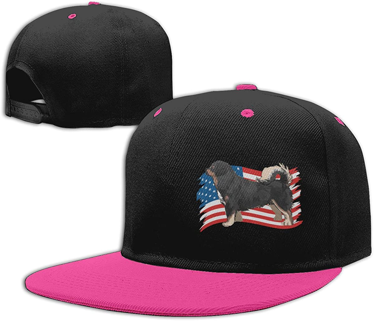 Men and Women Punk Rock Cap Tibetan Mastiff American Flag Adjustable Hip-Hop Baseball Caps