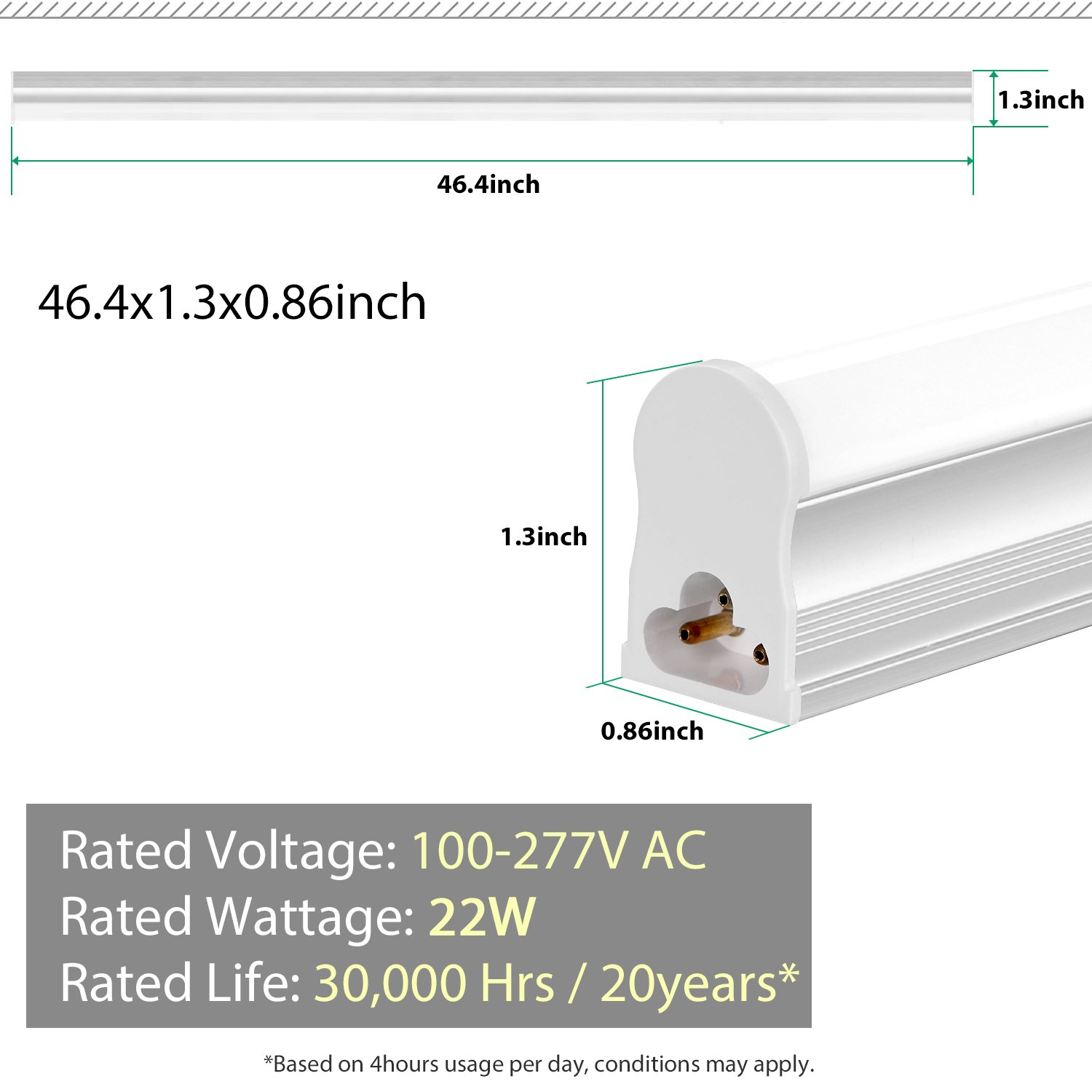 FrenchMay LED T5 mini utility linkable shop light 4ft, 22W, 85CRI, 2200Lumens, 5000K, 32w Fluorescent Equivalent, integrated ceiling light & under Cabinet shop light for garage, workshop, basement by FrenchMay (Image #6)