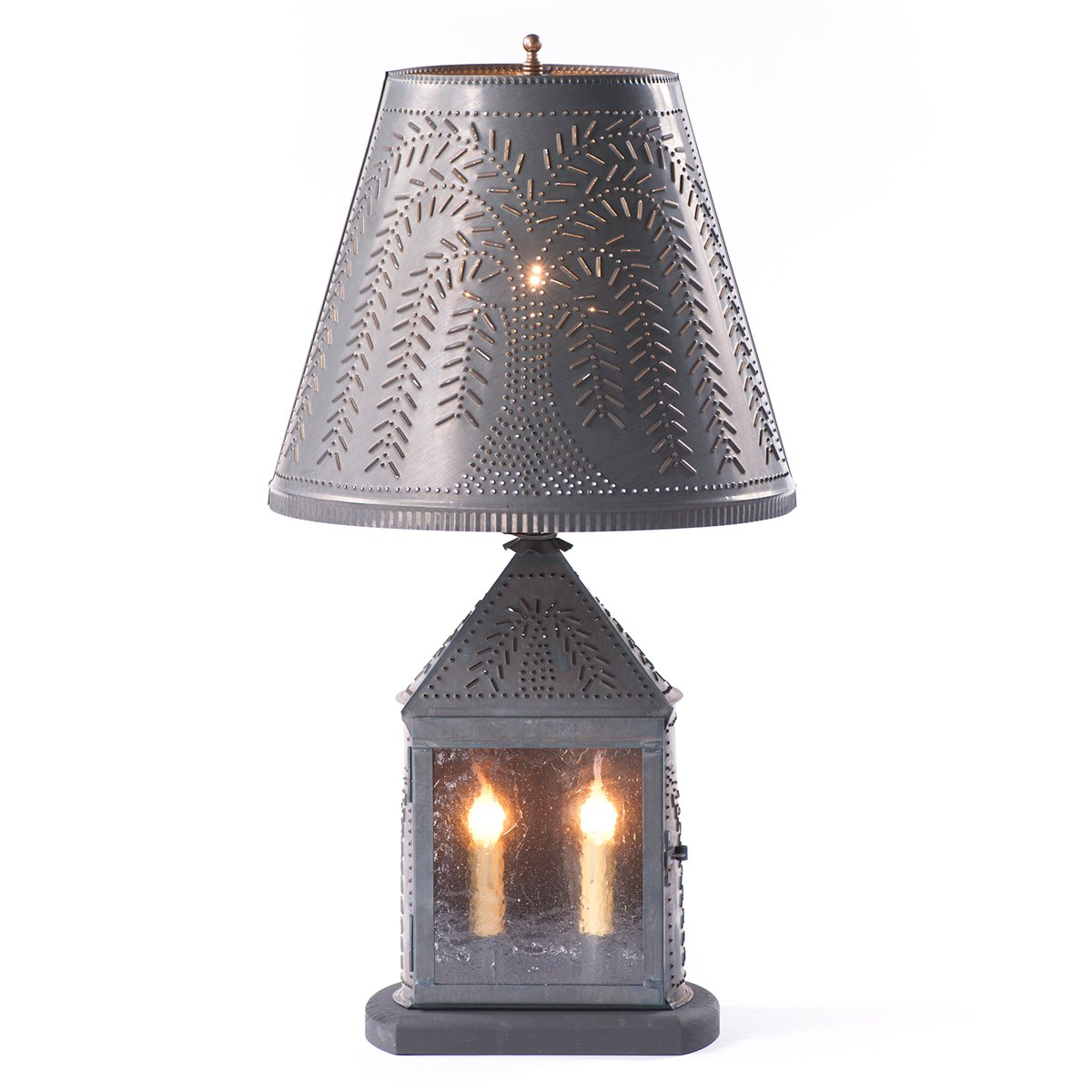 Harbor Lamp with Willow Shade in Blackened Tin by Irvin's Country Tinware