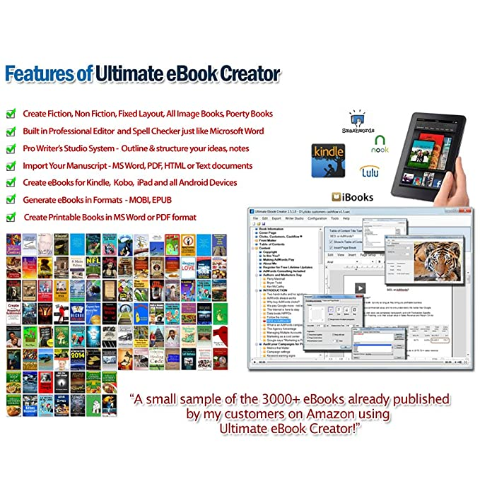 Ultimate eBook Creator - eBook Creation Software MOBI, EPUB, Word, PDF -  format eBooks and print books for Amazon Kindle self publishing,  iBookstore,