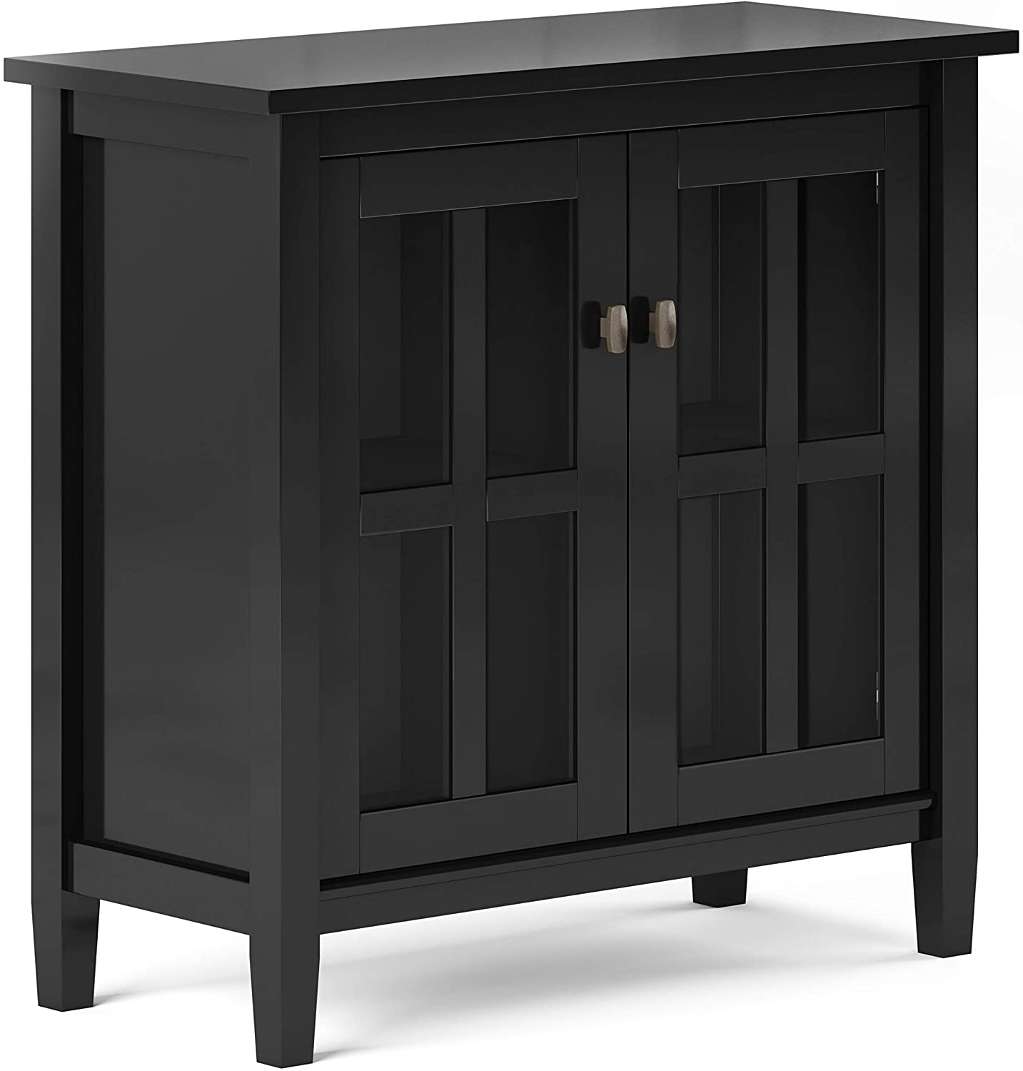 SIMPLIHOME Warm Shaker SOLID WOOD 32 inch Wide Rustic Low Storage Cabinet in Black, with 2 Adjustable Shelves, Tempered Glass Door