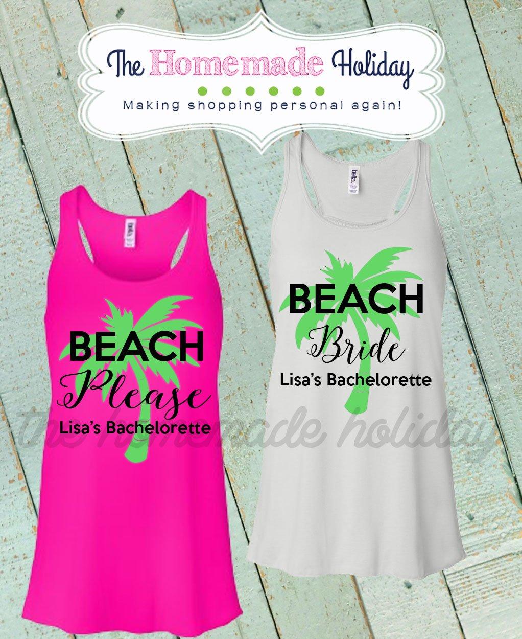 f3058336cf Amazon.com  Beach Please Bachelorette Tank tops- bridal party shirts- palm  tree tank tops  Handmade