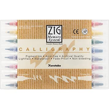 Amazon.com: Zig Memory System Calligraphy Markers, Multicolor, 8-Pack