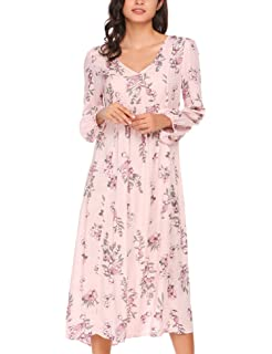 7360cad48fdc3 Zeagoo Women's Floral Print V Neck Long Sleeve Loose Long Maxi Dress