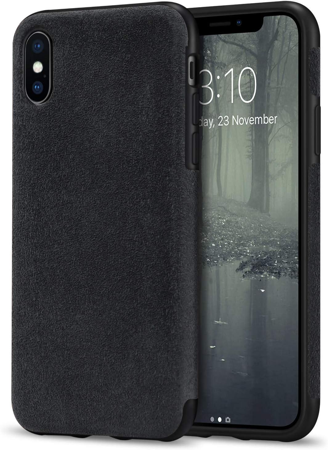 TENDLIN Funda iPhone XS/Funda iPhone X Hecho de Alcantara Material Carcasa de Híbrida de Cuero (Negro): Amazon.es: Electrónica
