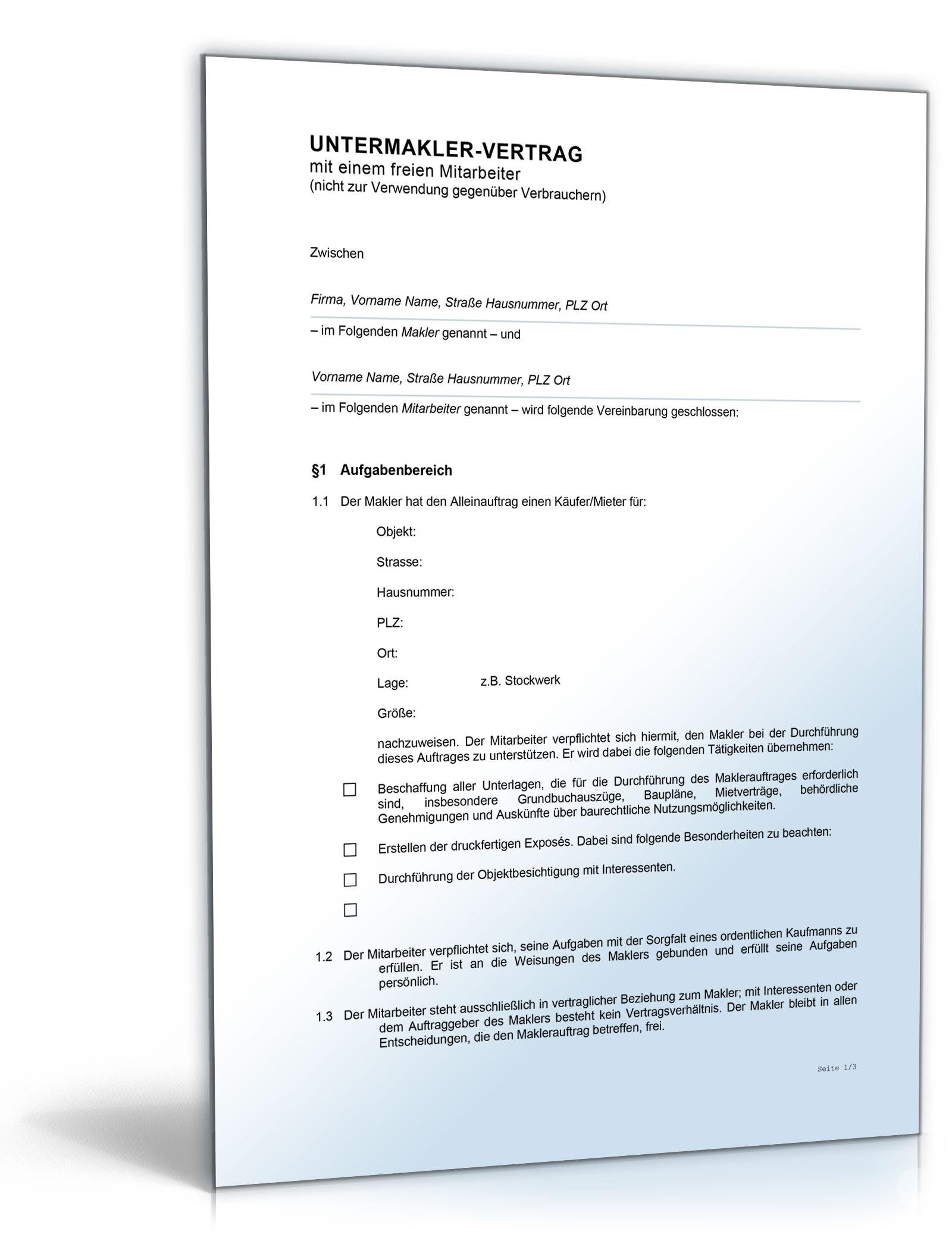 Vertrag Untermakler [Word Dokument]: Amazon.de: Software