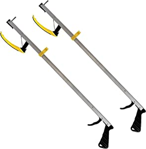 RMS 2-Pack 32 Inches Long Grabber Reacher - Magnetic Tip Helps Pick Up Small Objects - Fitted with Post to Assist with Dressing - Mobility Aid Reaching Assist Tool, Arm Extension (32-inch)