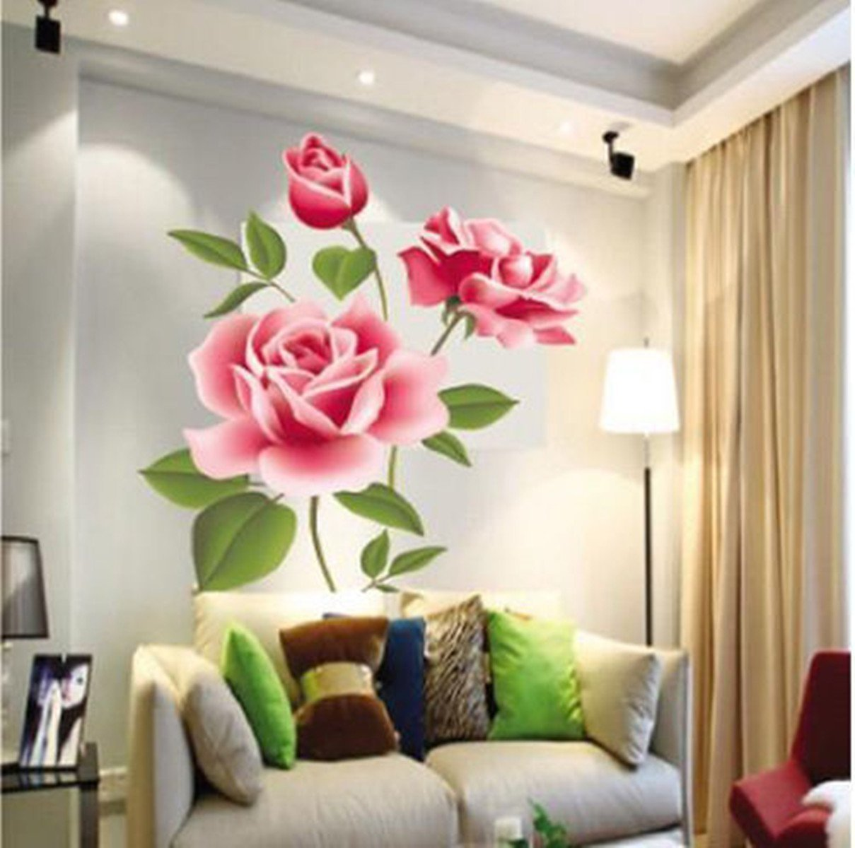 Rose Flower Vinyl Home Decor Wall Art Decal Sticker By Homking:  Amazon.co.uk: DIY U0026 Tools