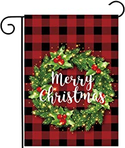 "Allenjoy Merry Christmas Red Grid Garden Flag for Outside Mailbox Vertical Buffalo Check Plaid Farmhouse Yard Sign Customizable Patio Outdoor Decors 12x18"" Double Sided Washable Polyester UV-Resist"