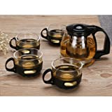 Glass Teapot Set,24oz BPA-Free Eco-Friendly Glass Teapot,with Removable Stainless Steel Filter and Four 150ml with Removable Handle Tea Cups Teapot Set