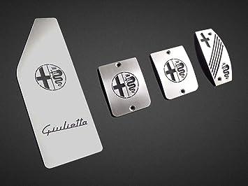 Pedale Set Mit Fußstütze Stahlabdeckung Für Alfa Romeo Giulietta 4 Stück Pedal Pedalkappen Brems Gas Kupplungspedal Fußablage Fußpedal Edelstahl Gebürstet Komplett Auto