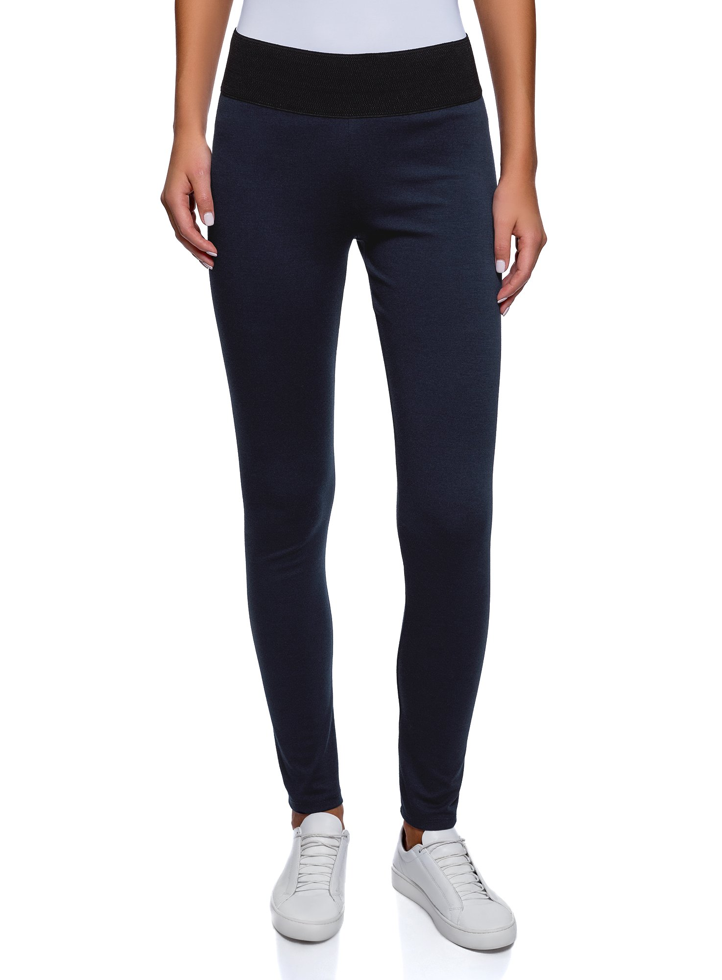 oodji Collection Womens Jersey Leggings with Elastic Waistband, Blue, 6